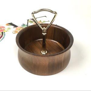 Vintage Lebanon Heirloom Solid Walnut Nut Bowl MCM